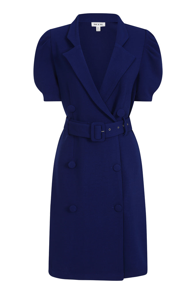 Kaya Navy Belted Blazer Dress