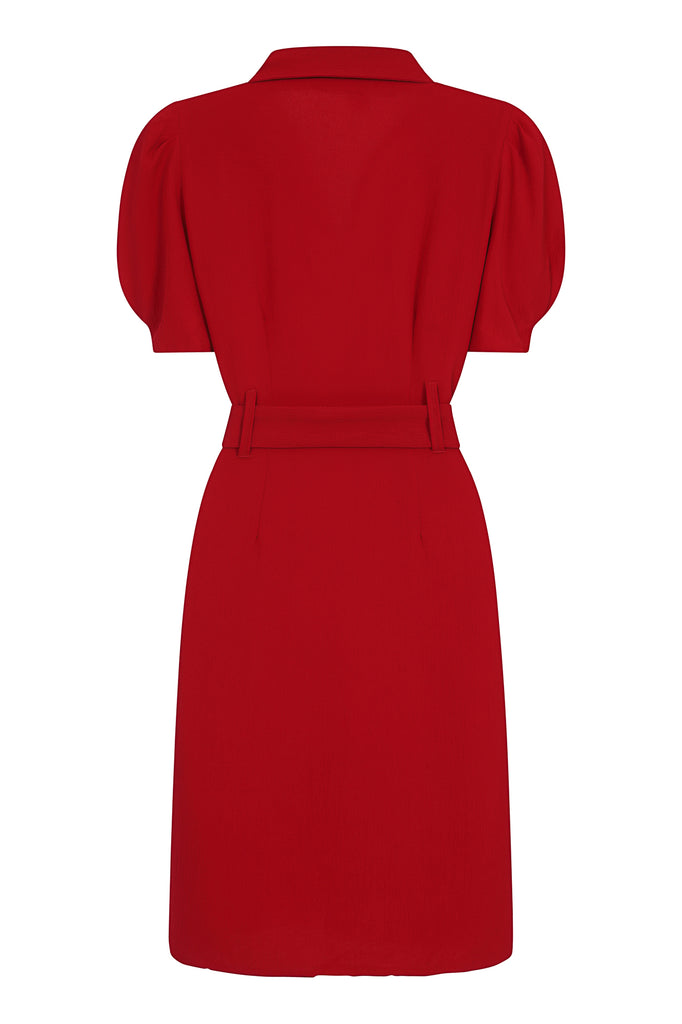 Kaya Red Belted Blazer Dress
