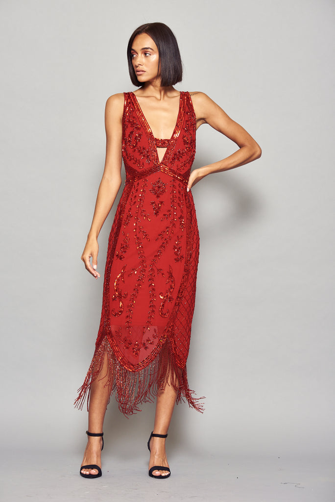 Frock and Frill Ilana Red Sequin and Bead Embellished V Neck Cross Back Flapper Dress with Fringing