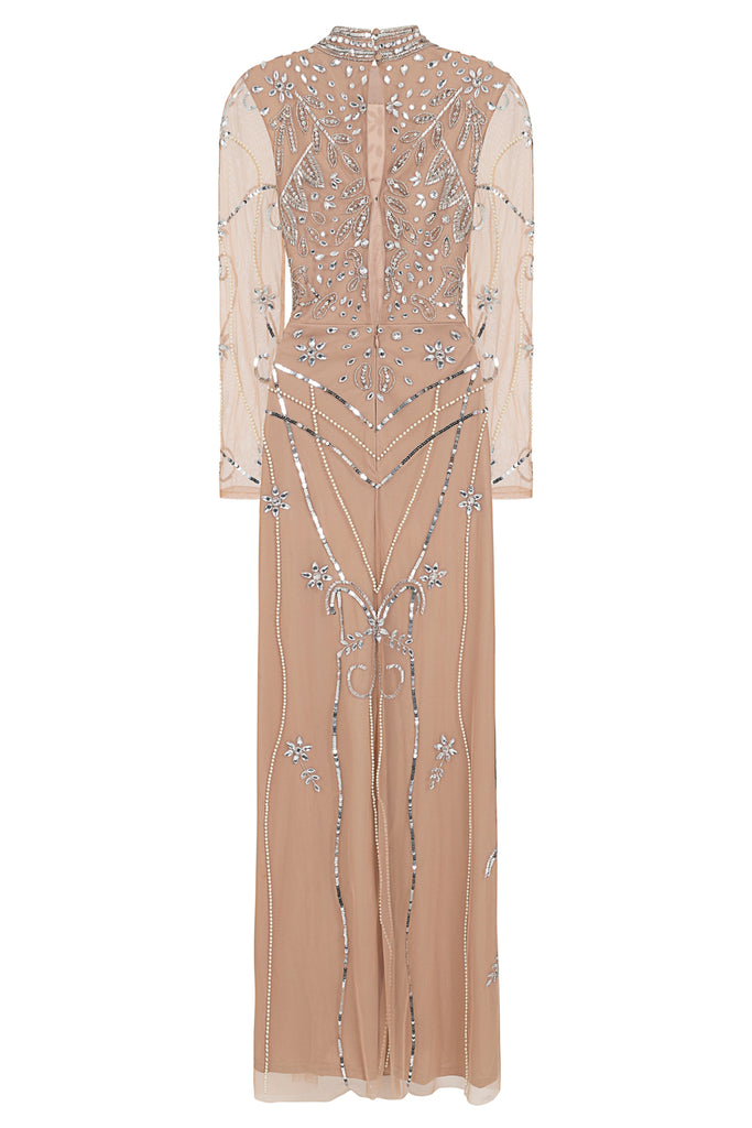 Flora long sleeve embellished maxi dress - Tan - Amelia Rose - Frock and Frill