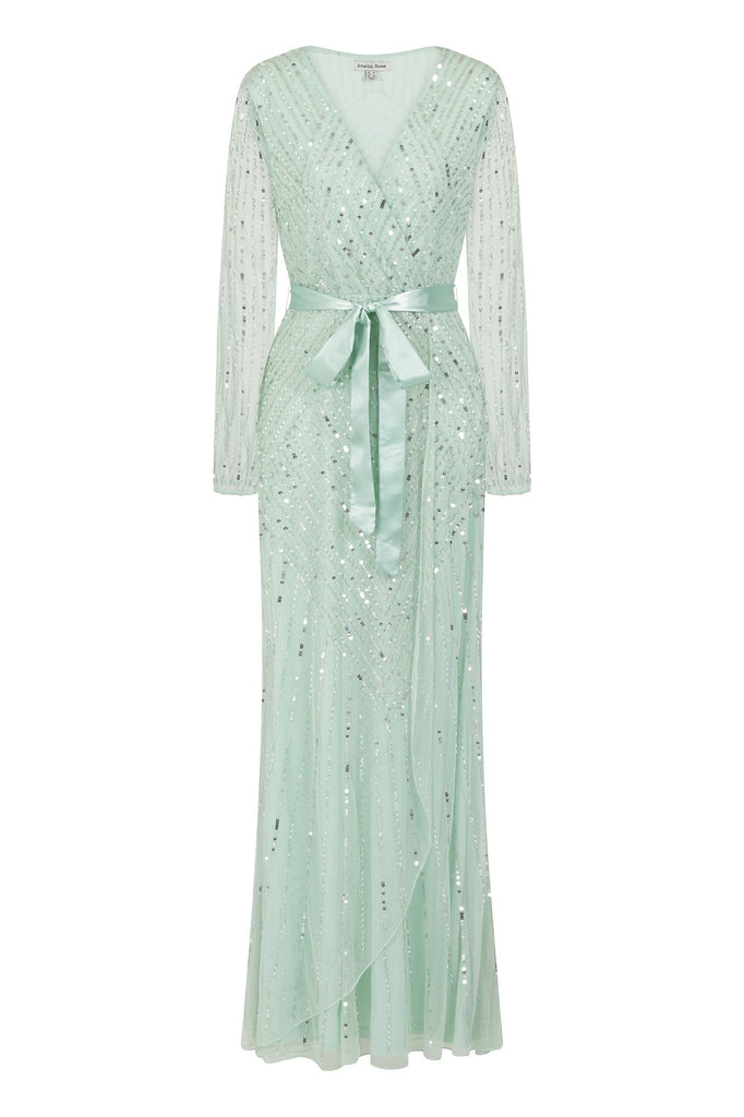 Frock and Frill Amelia Rose Hadriana Sage Green Embellished long Sleeve Maxi Dress With Wrap Detail