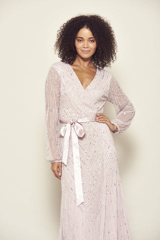 Frock and Frill Amelia Rose Hadriana Taupe Lilac Embellished Long Sleeve Maxi Dress with Wrap Front Detail