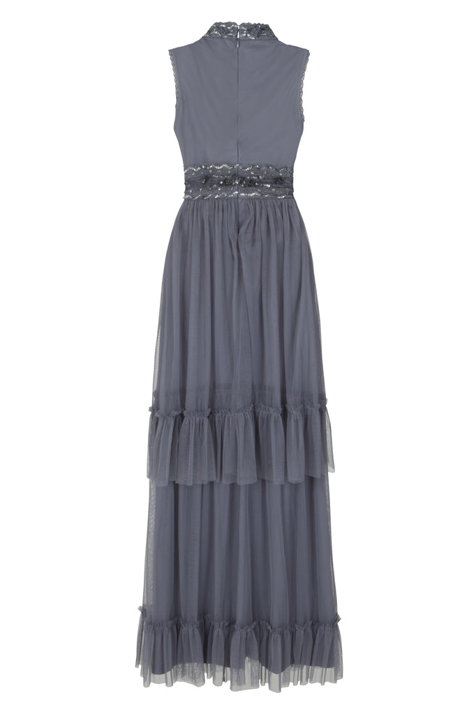 Frock and Frill Faith Dusk Blue Tiered Skirt Embellished Dress