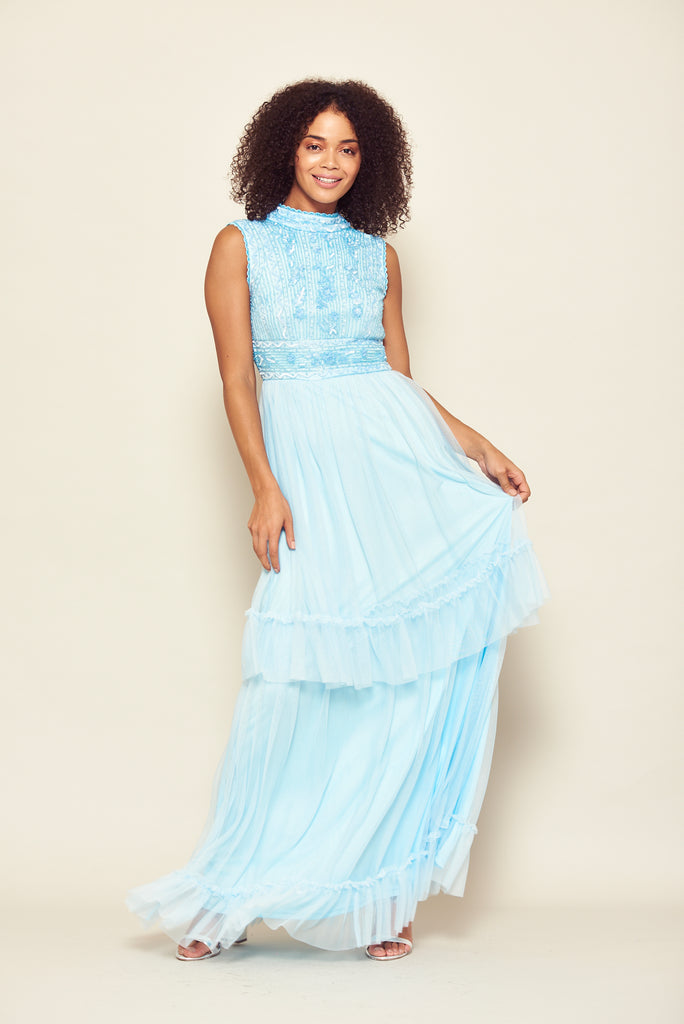 Frock and Frill Faith Light Blue Tiered Skirt Embellished Dress