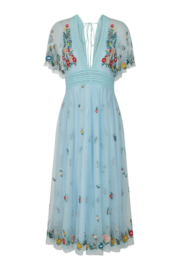 Frock and Frill Gigi Blue V Neck Short Sleeve Floral Embroidered Midi Dress
