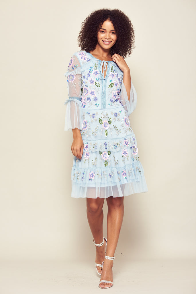 Frock and Frill Ginger Skyward Blue Ruffled Tie-Neck Embellished Midi Dress with 3/4 Length Sleeves