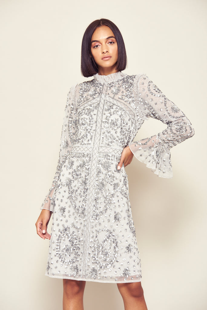 Frock and Frill Grey and Silver Janae Embellished Long Sleeved Shift Dress