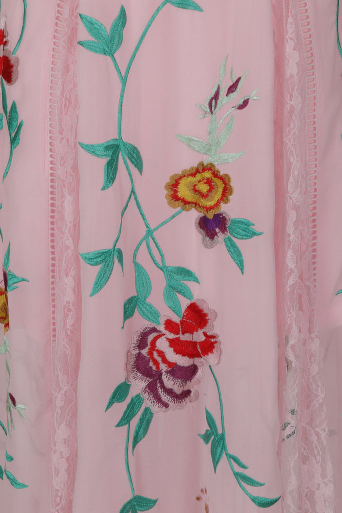 Frock and Frill Gypsy Pink Floral Embroidered Maxi Dress with Lace Panels