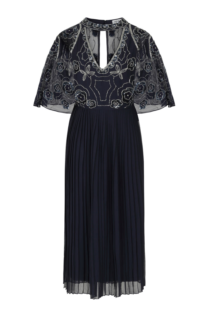 Frock and Frill Hilary Navy Embellished Cape Sleeve Midi Dress with Pleated Skirt