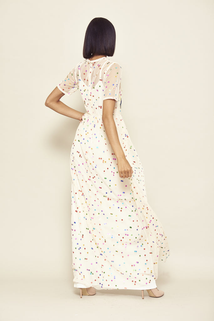 Frock and Frill Idina Nude Rainbow Spotted Mesh Floral and Bird Embroidered Maxi Dress with Short Sleeves