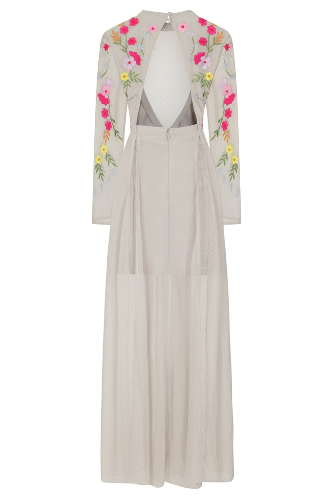 Frock and Frill Indra Lunar Rock Grey Embroidered Long Sleeve Maxi Dress with Polka Dot Mesh Panels and Cut Out Back
