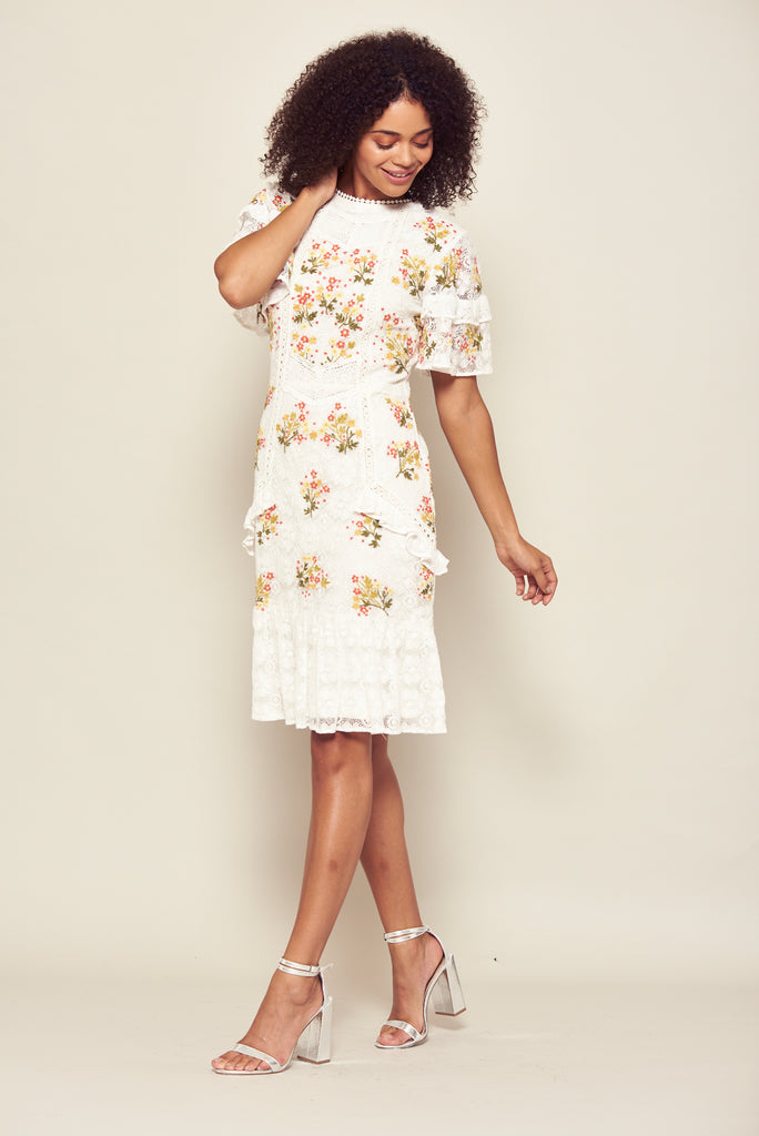 Frock and Frill Inka Off White Lace Floral Embroidered Skater Dress