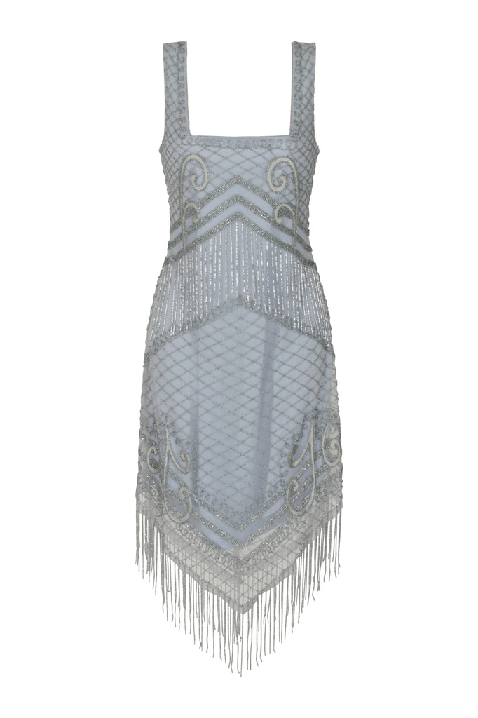 Frock and Frill Ireana Skyway Blue Square Neck Embellished Fringed Flapper Dress