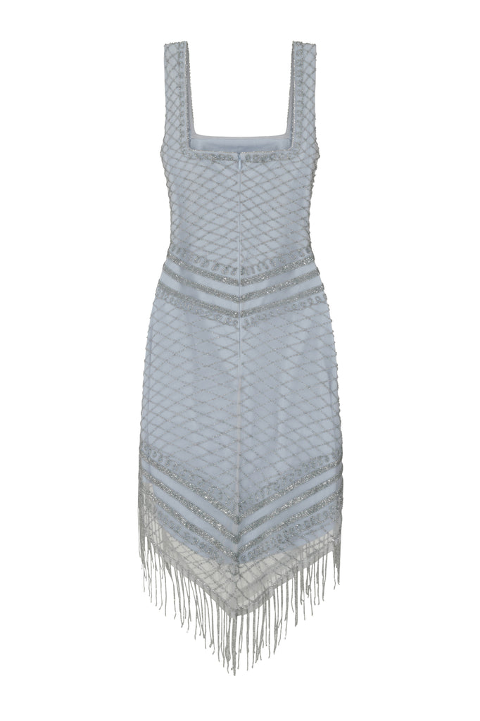 Flapper dress with triangular hem and silver sequin embellishment
