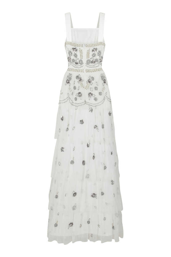 Frock and Frill Irina White Embellished Tiered Maxi Dress