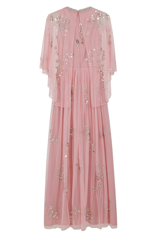 Frock and Frill Irma Rose Pink Cape Top Embellished Maxi Dress