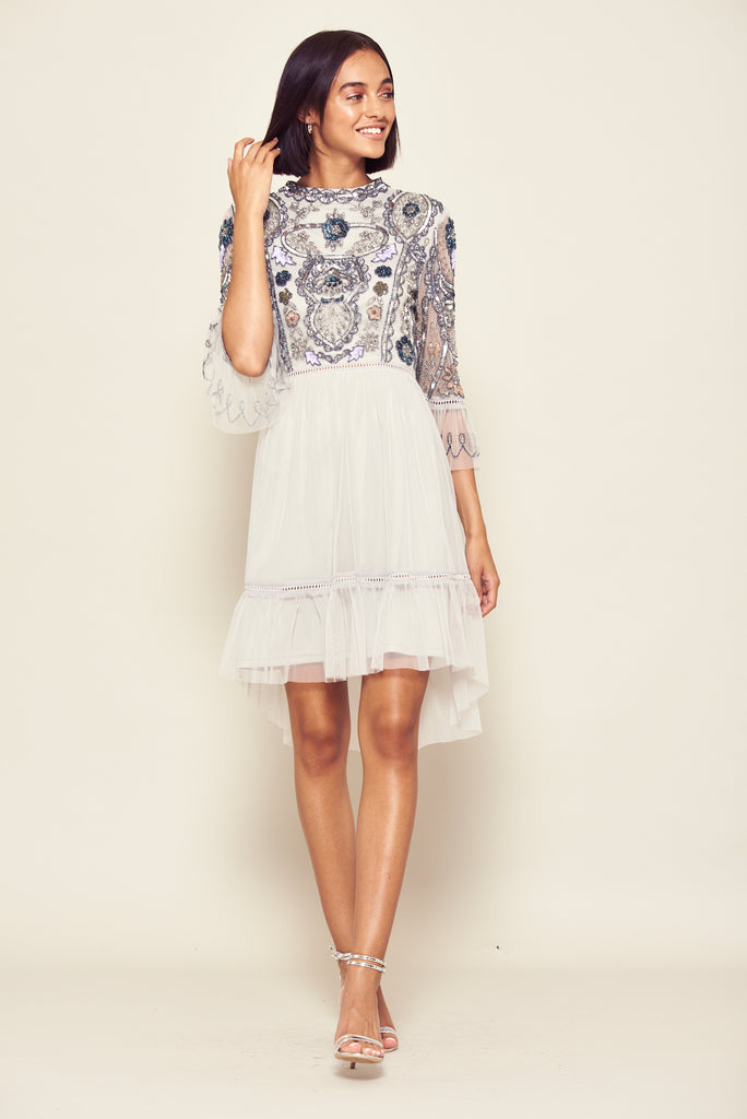 Frock and Frill Isobelle Grey Embellished Three Quarter Length Sleeve Dip Hem Dress