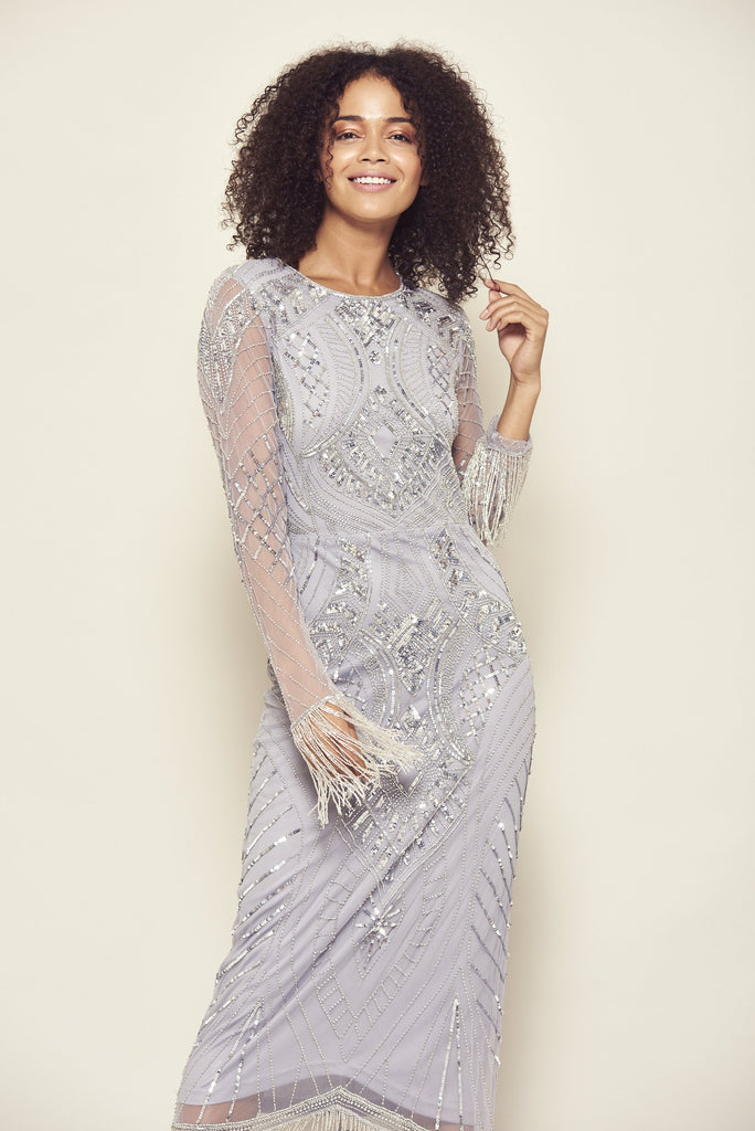 Frock and Frill Isolyn Silver Grey Embellished Long Sleeve Midi Shift Dress