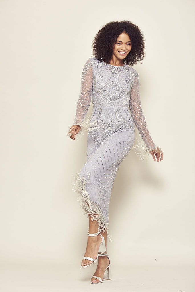 Art deco inspired midaxi dress with silver embellishments and full length sleeves