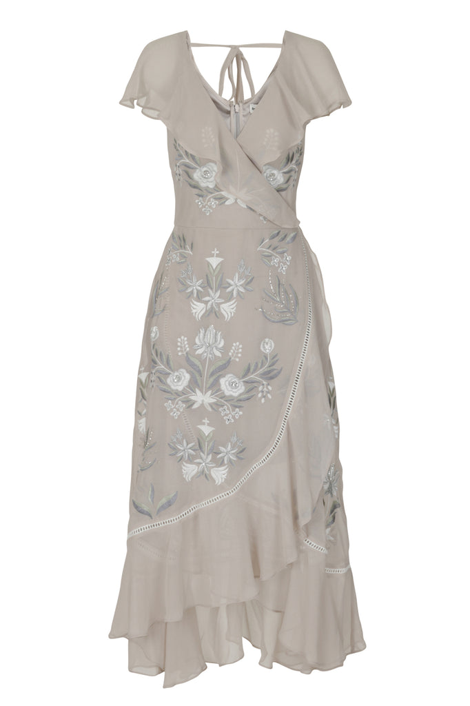 Frock and Frill Izzie Grey Floral Embroidered Ruffle Midi Dress