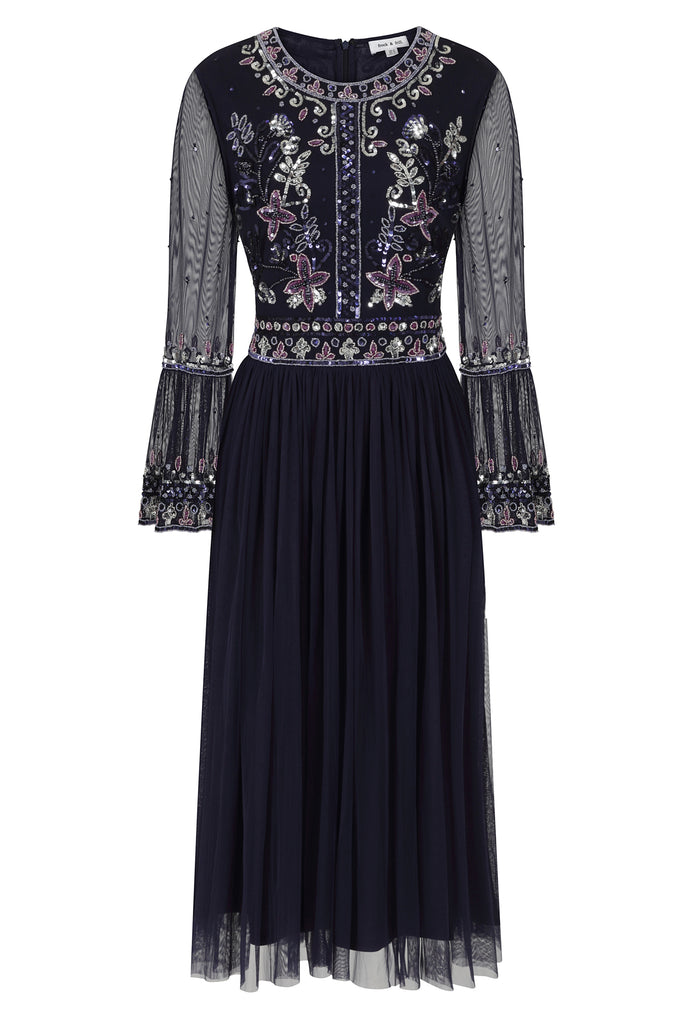 Frock and Frill Jacqueline Dark Purple Long Sleeve Embellished Pleated Skirt Midi Dress
