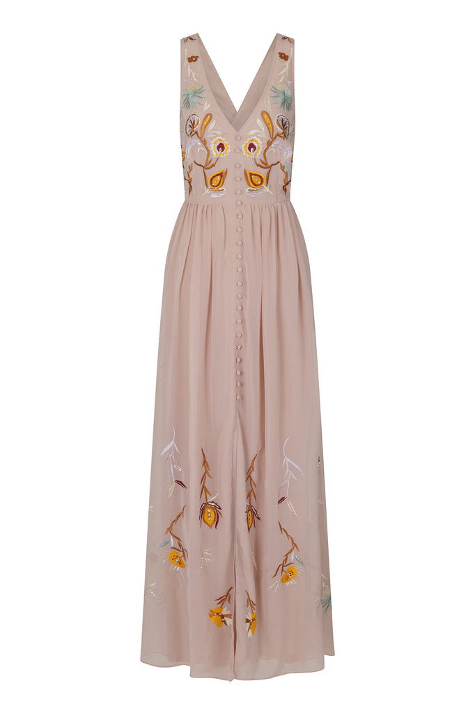Frock and Frill Jamie Embroidered Button Front Cross Back Maxi Dress in Light Pink