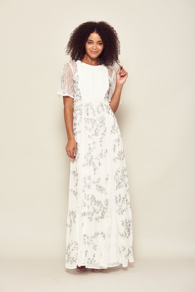 Frock and Frill Jasmine White Short Sleeved Embroidered Maxi Dress