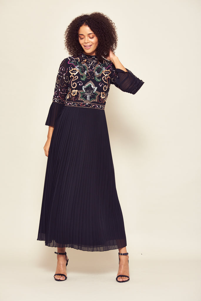 Frock and Frill Joy Black Embellished Midi Midaxi Dress with Pleated Skirt and Flared 3/4 Length Sleeves