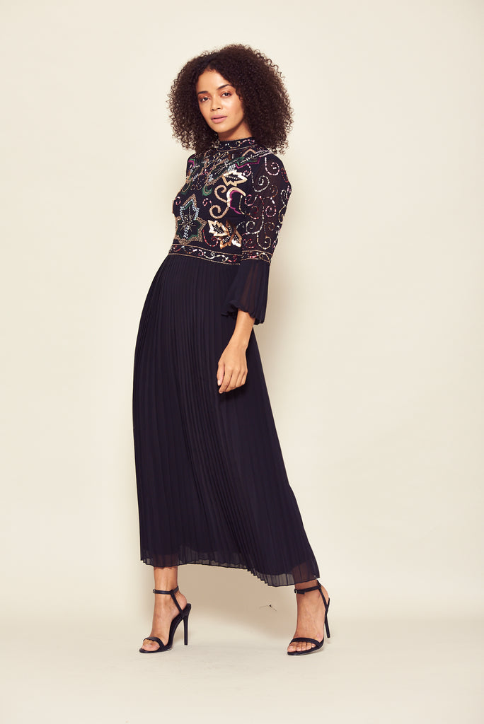 Black embellished midaxi dress with long sleeves