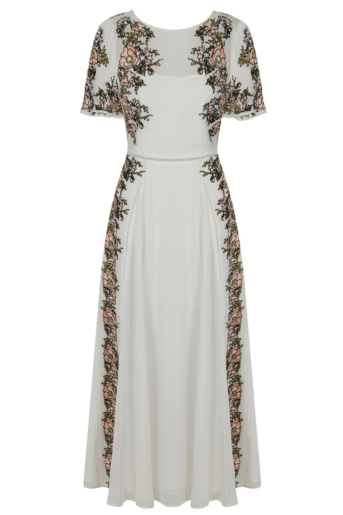 Frock and Frill Joyce White Floral Embroidered Short Sleeve Maxi Dress