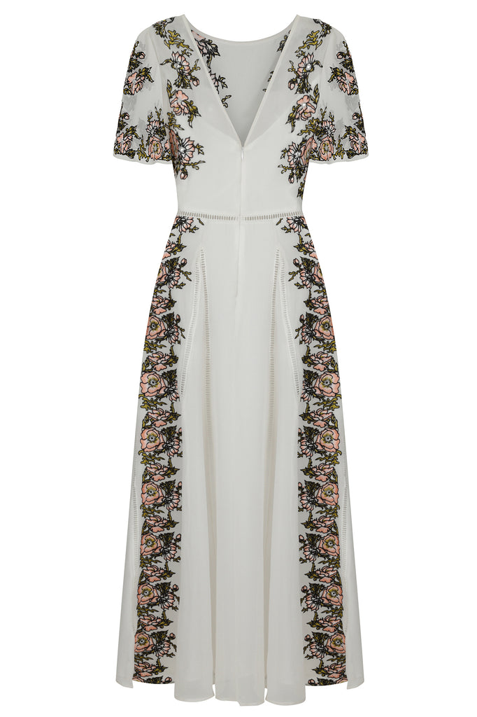 Frock and Frill Joyce Floral Embroidered Short Sleeve Maxi Dress