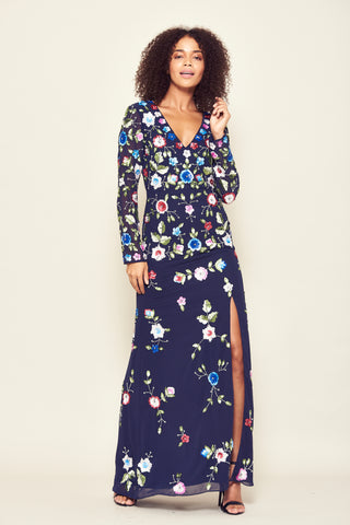 Frock and Frill Julieta Navy Blue Floral Sequin Embellished Long Sleeve Maxi Dress