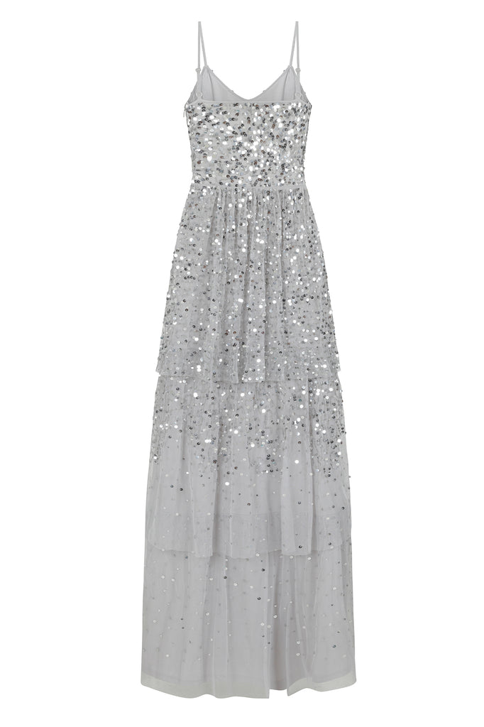 Frock and Frill Amelia Rose Hadiya Silver Dove Grey Tiered Ombre Sequin Maxi Dress