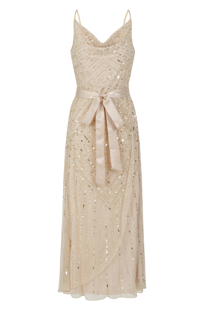 Frock and Frill Amelia Rose Hadlyn Rose Gold Embellished Cami Midi Dress