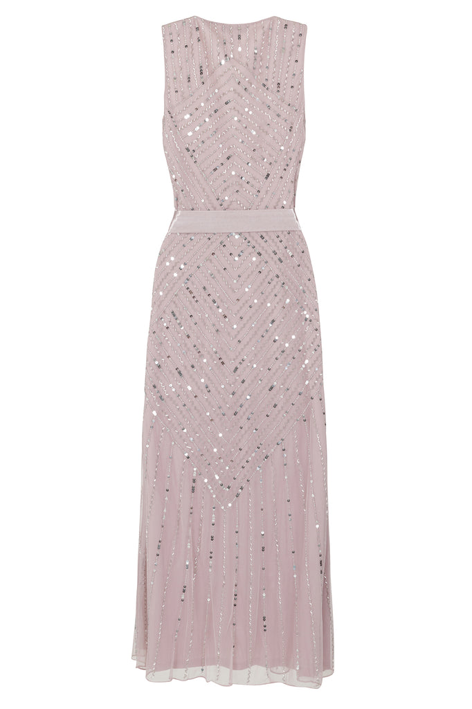 Frock and Frill Amelia Rose Hadriana Blush Pink Sleeveless Embellished Midi Dress With Wrap Detail