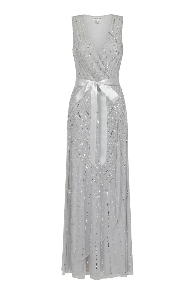 Frock and Frill Amelia Rose Hadriana Silver Grey Sleeveless Embellished Maxi Dress With Wrap Detail