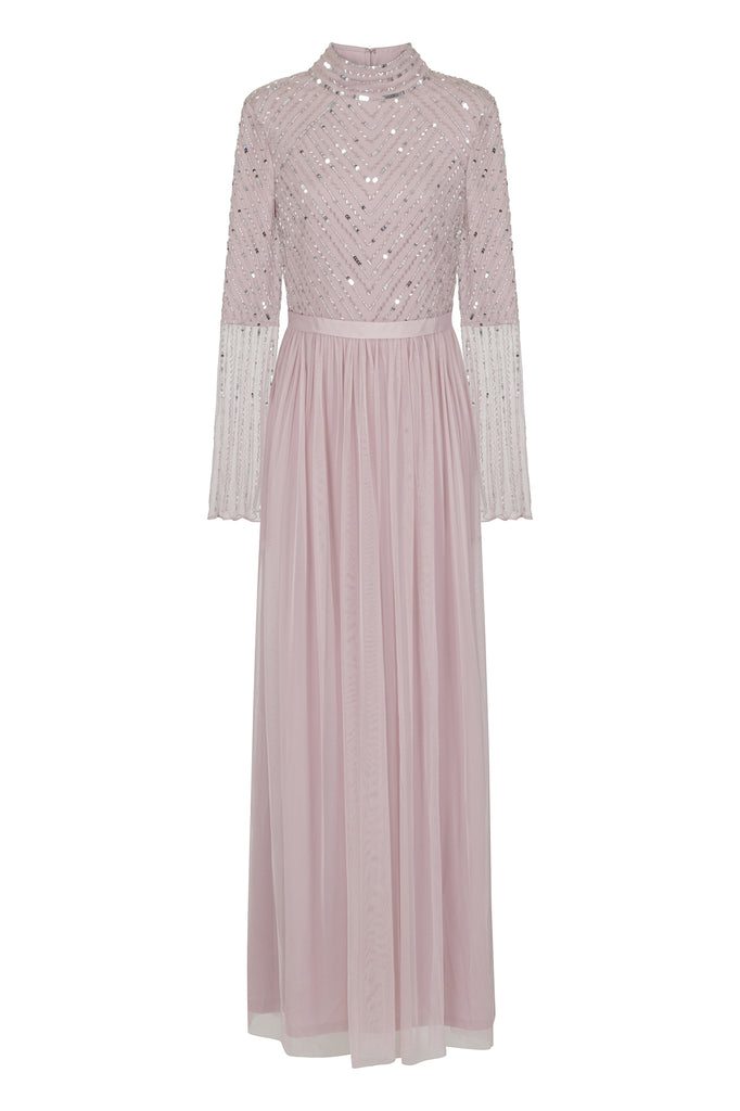 Frock and Frill Amelia Rose Hydeia Blush Embellished Long Sleeve Modest Maxi Dress