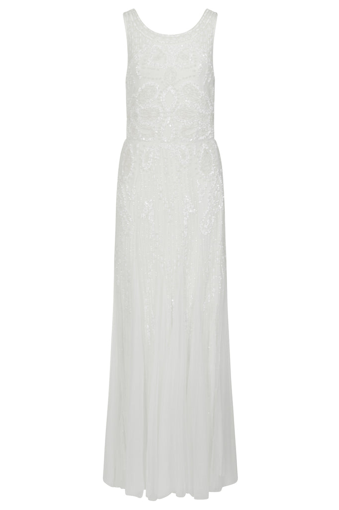 Frock and Frill Amelia Rose Kassandra Embellished Cowl Back Maxi Dress in Ivory White
