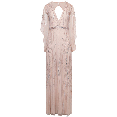 Frock and Frill Amelia Rose Rose Gold Kaliyah Embellished Cape Sleeve Maxi Dress
