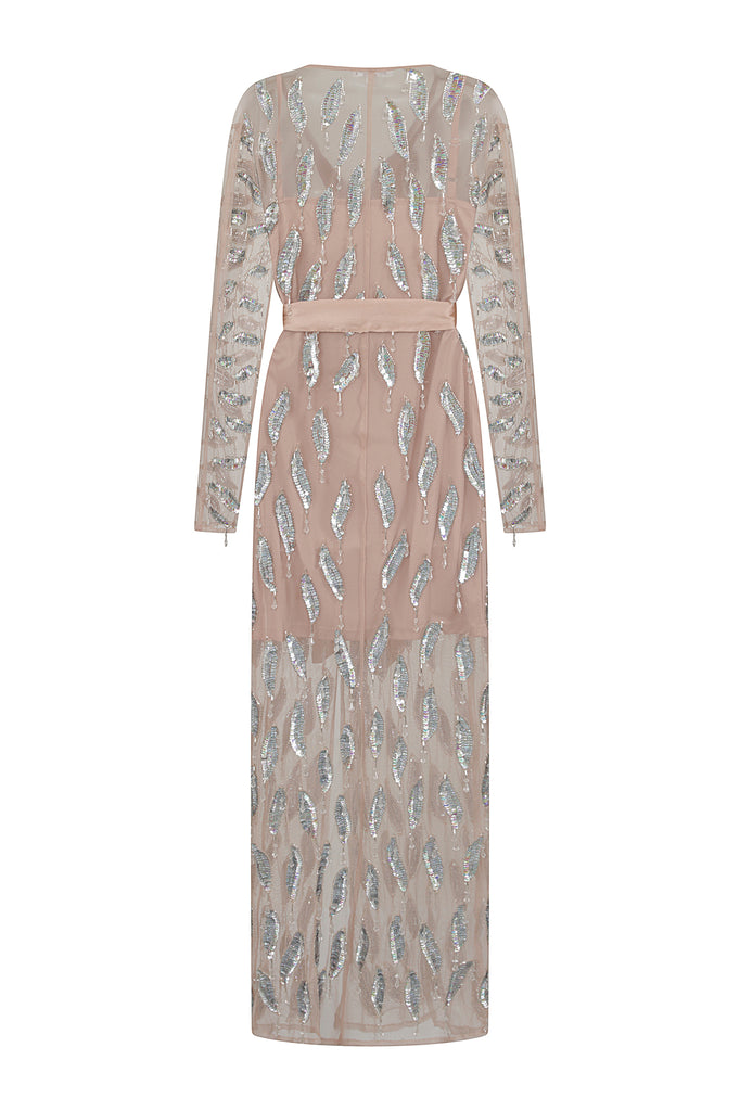 Karie Sheer Embellished Maxi Wrap Dress