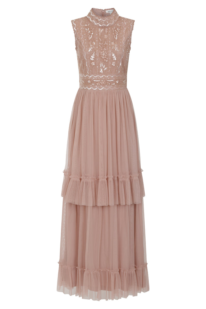 Frock and Frill Faith Rose Tiered Skirt Embellished Dress