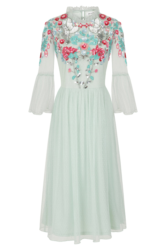 Frock and Frill Irelyn Turquoise Frill Sleeve Embellished Midi Dress