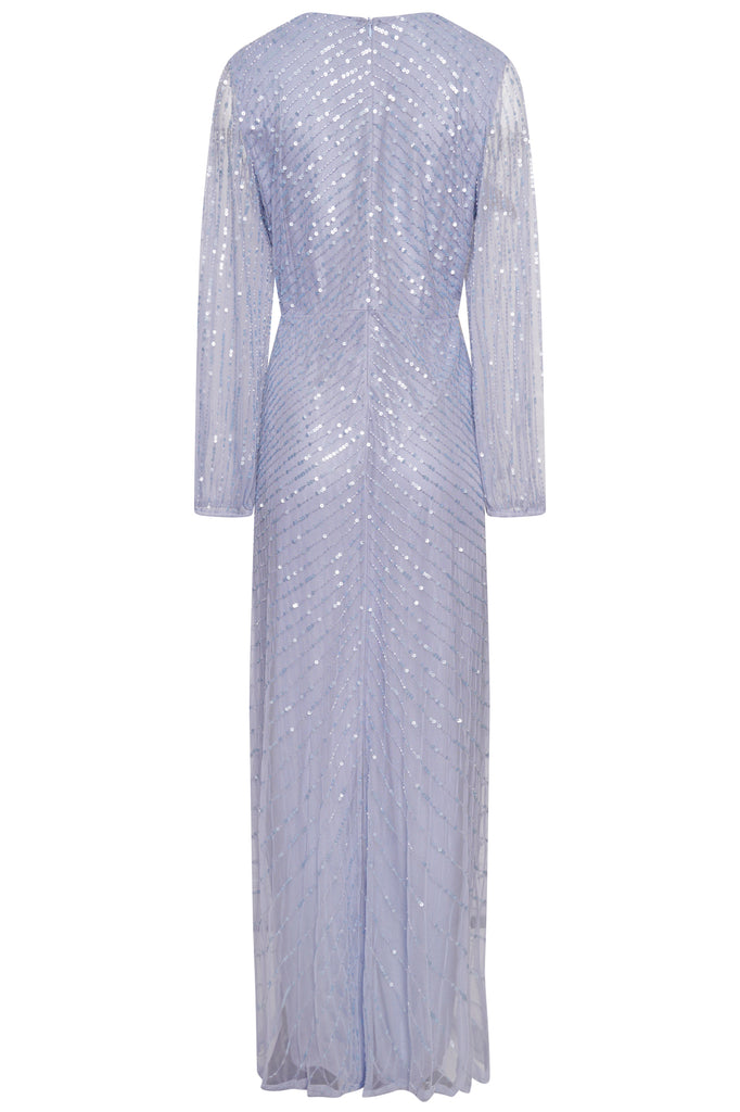 Frock and Frill Ivette Light Blue Embellished Long Sleeve Maxi Dress