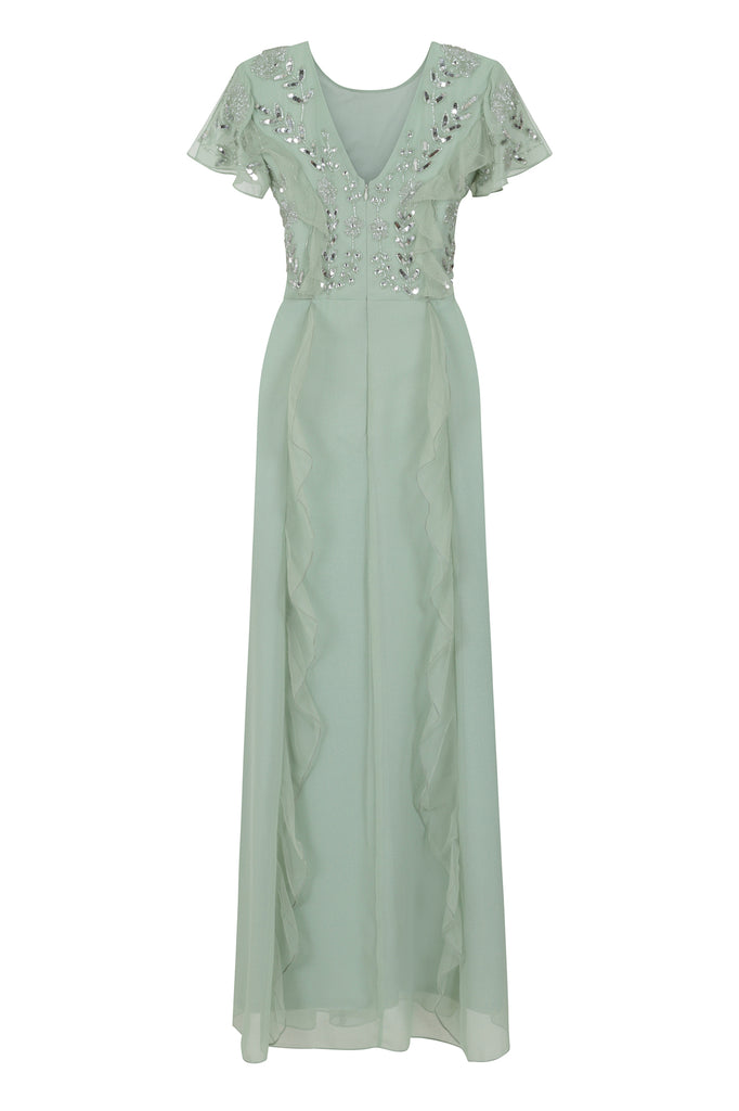 Frock and Frill Julia Pistachio Green Short Sleeve Embellished Ruffled Maxi Dress