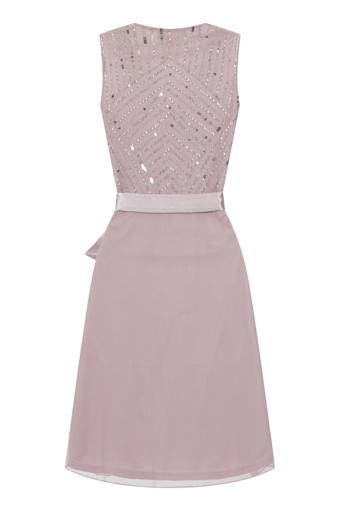 Frock and Frill Kadison Midi Wrap Skater Dress in Rose