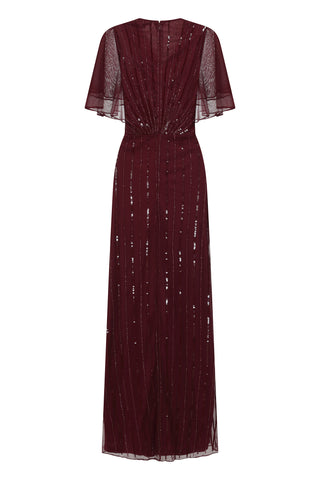 Frock and Frill Kamille Burgundy Embellished Maxi Dress