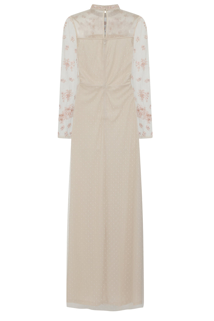 Frock and Frill Karamia Embroidered Maxi Dress in Blush Nude