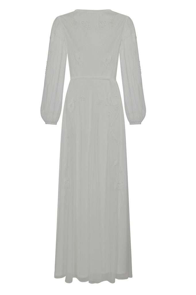Frock and Frill Karissa White Embroidered Wrap Maxi Dress with Long Sleeves