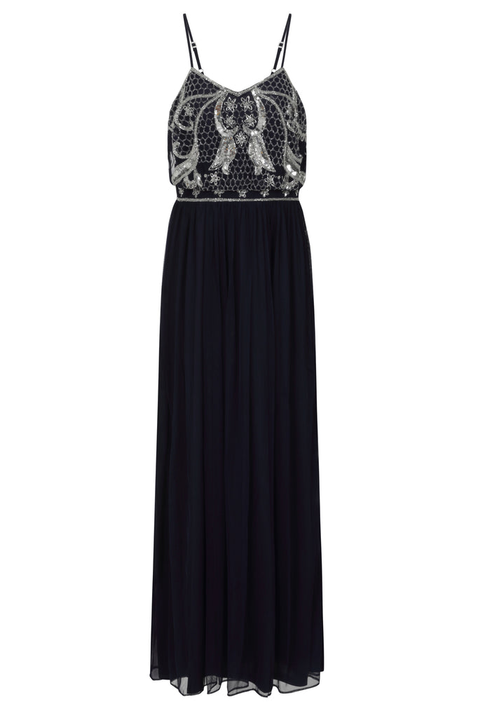 Frock and Frill Karlyssa Navy Embellished Cami Strap Maxi Dress