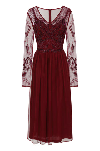 Frock and Frill Kasie Embellished Midi Skater Dress in Burgundy